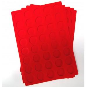B2-PLATEAU 40 CASES RONDES VELOURS ROUGE PAR 10 + 2 OFFERTS